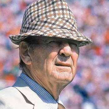 Who do you think is the best college football coach of all time? Lots of people would vote for none other than Bear Bryant. Bryant coached the University of Alabama's Crimson Tide for 25 years. He got his nickname at 13 years old when he volunteered to wrestle a captive bear. Here he is in his trademark hat. Guess a career in fashion didn't work out. And good thing, too.