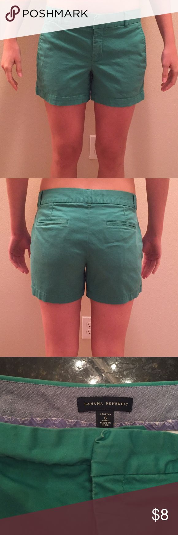 Banana Republic shorts Banana republic shorts with some stretch to them-- 98% cotton, 2% spandex. Slightly distressed green color. Grab these now for your spring break wardrobe! Banana Republic Shorts