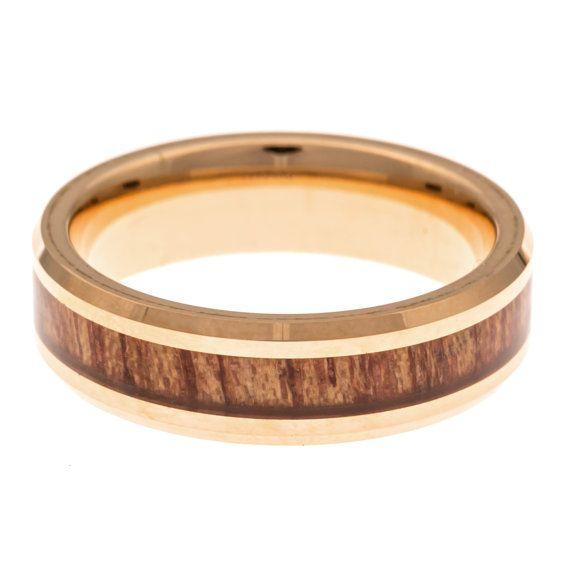 Mannen trouwring Rose goud Hawaiian Koa hout door AlphaTungsten