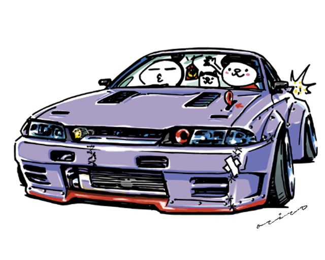 "Car illustration ""crazy car art"" JDM Japanese old school ""R32"" original characters ""mame mame rock"" / © ozizo """