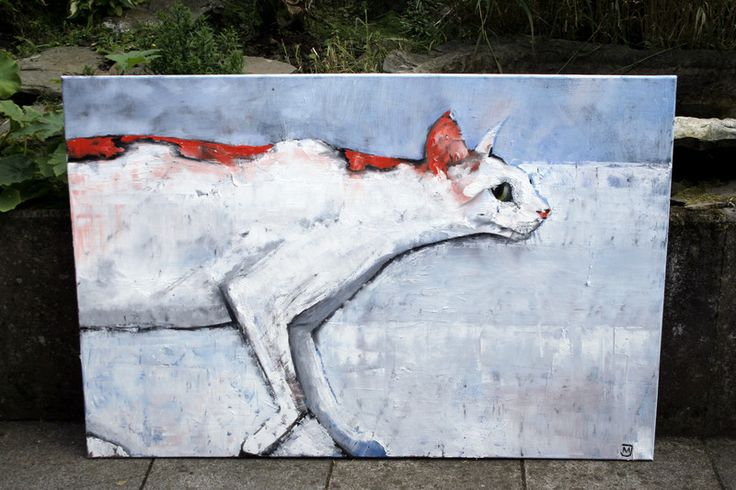 Ölmalerei - MJ-Arts XXL Leinwand Gemälde Katze Ölgemälde - ein Designerstück von Manuela-Jung bei DaWanda