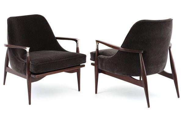 Sculptural Pair of Lounge Chairs by Ib Kofod-Larsen | red modern furniture