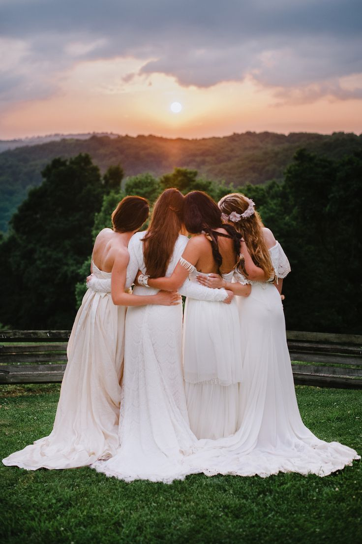 Bohemian Bridesmaids in Long, Ethereal White Dresses | Photography: Veronica Varos Photography. Read More: http://www.insideweddings.com/weddings/a-bohemian-inspired-wedding-shoot-in-an-enchanted-forest/643/