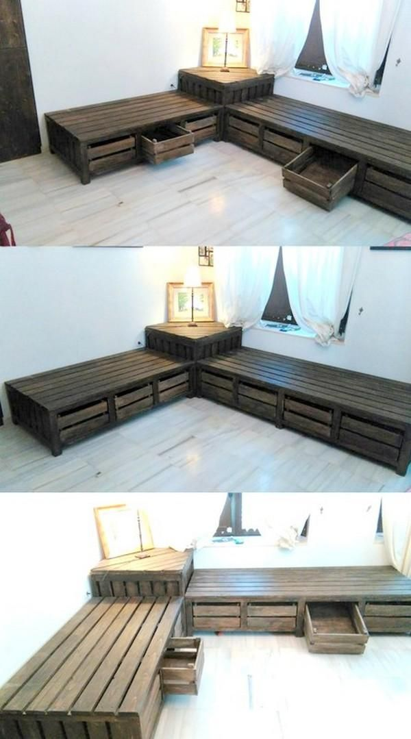 Unique Diy Pallet Corner Long Bench | Awesome Home ideas in 2019