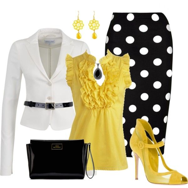 Polka Dots with Yellow Accents by justbeccuz on Polyvore featuring Patrizia Pepe, So in Fashion, Gianvito Rossi, Lulu Guinness, Tità Bijoux, Arden B., women's clothing, women's fashion, women and female