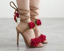 Plus Size 35 - 40 Sexy Peep Toe de salto alto sandálias de verão vermelho rosa Lace Up Stiletto bombas sapatos mulheres 549(China (Mainland))