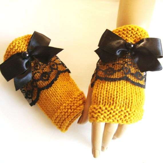 Hand Knit Mustag Yellow Fingerless Gloves, Mitten, Black Lace And Ribbon, Winter Accessories,  Fall Colours, Holiday Accessories