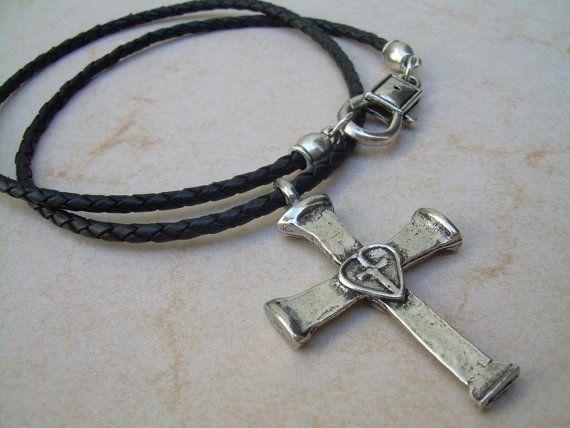 Cruz collar collar para hombre Cruz Cruz collar de cuero