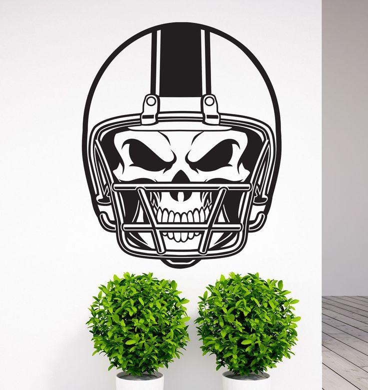 Amazing Removable American Football NFL Helmet Skull Vinyl Wall Decal Art Sticker  Home Living Room Bedroom Wall