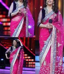Buy Madhuri dixit bollywood pink net saree madhuri-dixit-saree online