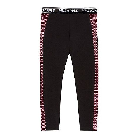 Pineapple Girls' black mesh panel leggings | Debenhams