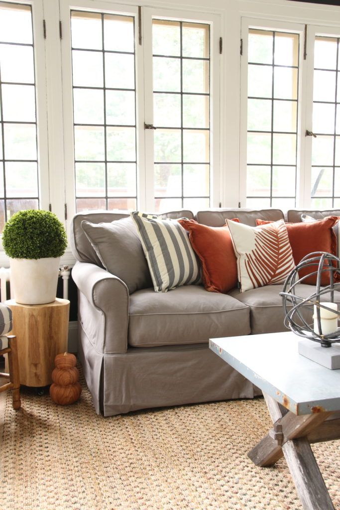 Pretty Gray Sofas Decorating For Fall Farmhouse Style With Black Slipcovered Willowick Sofa From Raymour And Flanigan