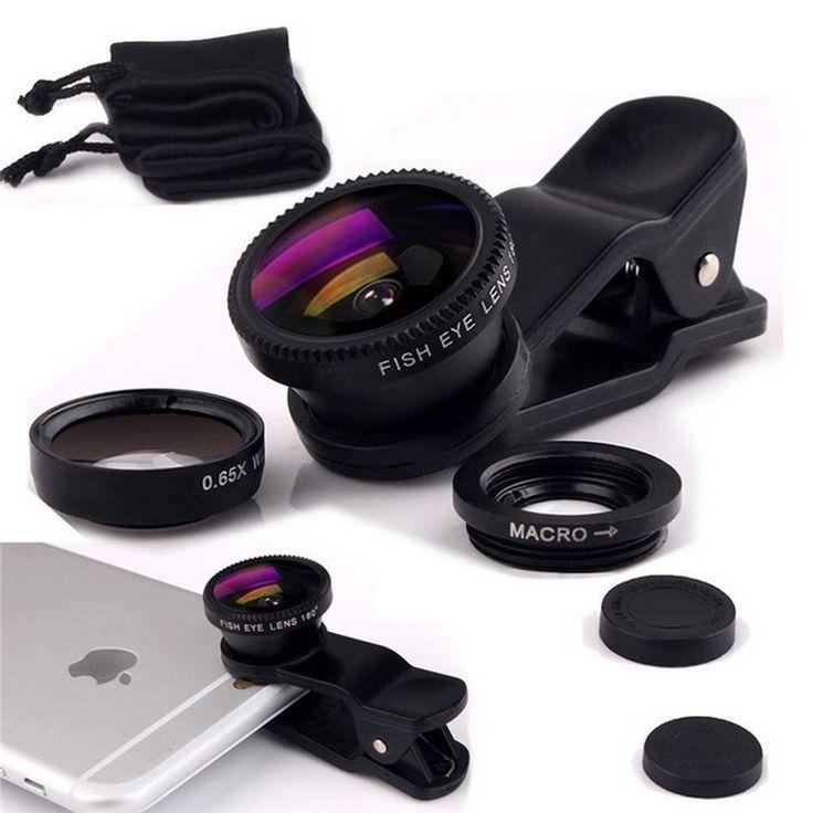 العالمي 3 في 1 فيش عدسة زاوية واسعة ماكرو كاميرا المحمول عدسات عين السمكة lentes الهاتف لفون 6 7 الذكي المجهر