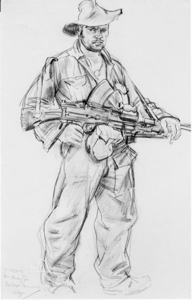 Drawing by Ivor Hele  of Big John Reay holding a Bren like sub machine gun during the Wewak Campaign