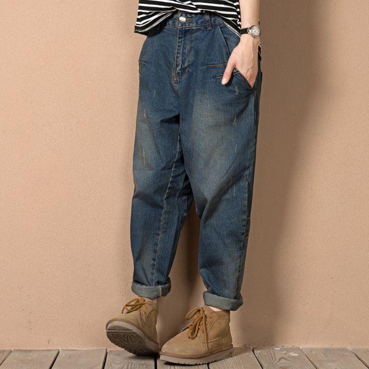 L-3XL 4XL 5XL Plus Size Boyfriend Baggy Jeans For Women 2016 Autumn Woman Loose Fit Jeans Harem Femme Blue Denim Pantolon