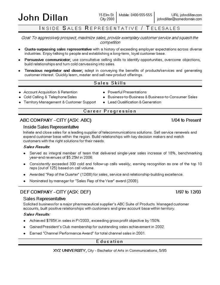 Inside Sales Executive Resume How to create an Inside