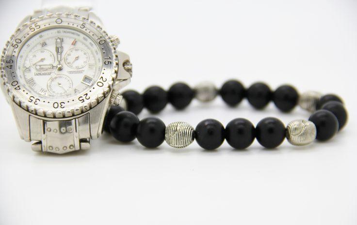 """bracelet homme Karma perles noires et métal """"BLACK IS BLACK """" : Bijoux pour hommes par made-with-love-in-aiacciu"""