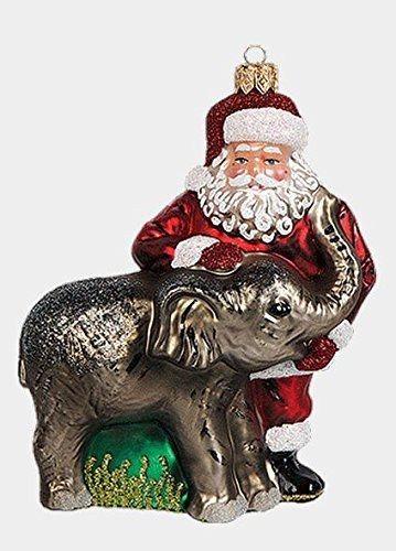 I don't have this ornament!   Santa Claus with Elephant Polish Mouth Blown Glass Christmas Ornament