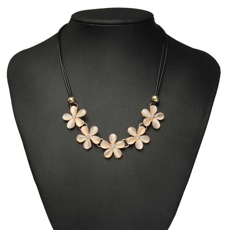 Opal Crystal Flower Bib Leather Cord Necklace For Women