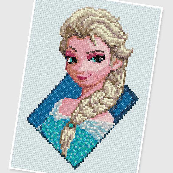 PDF pattern : 0300.Elsa The Snow Queen (Frozen) by PDFcrossstitch