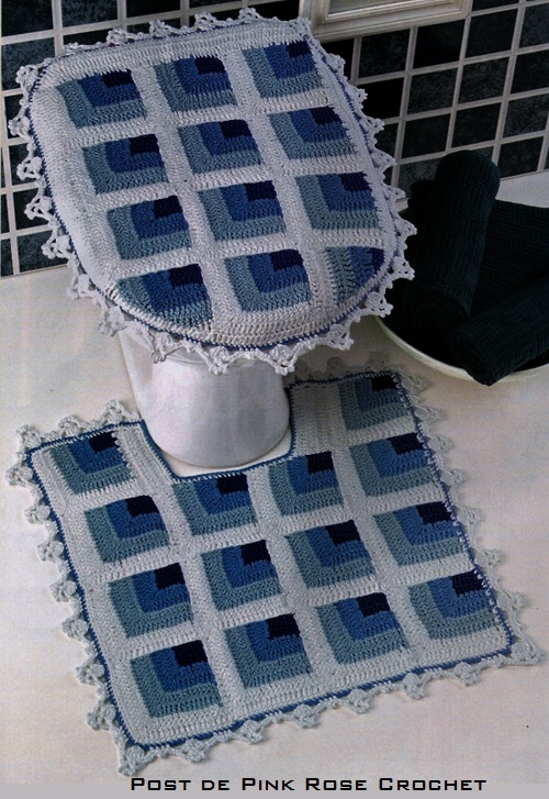 Crochet bathroom set with diagram