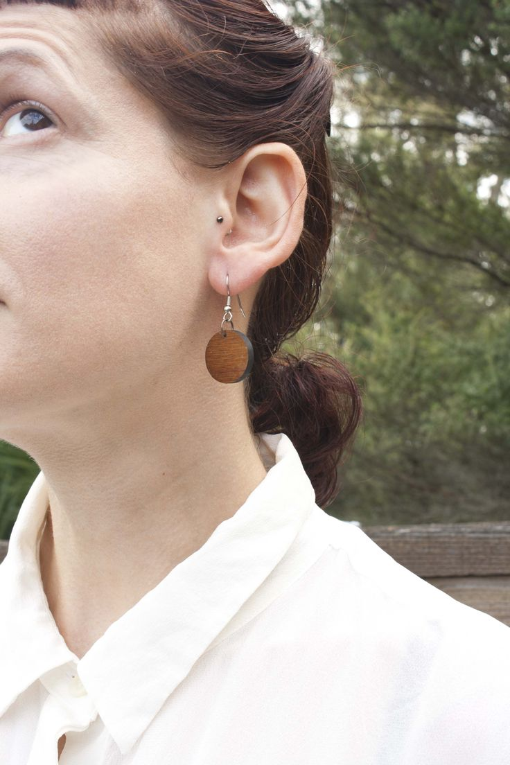 Round solid rimu earrings - $30