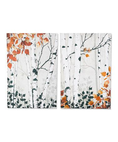 Another great find on #zulily! Gold Fall Birch Wall Canvas - Set of Two #zulilyfinds