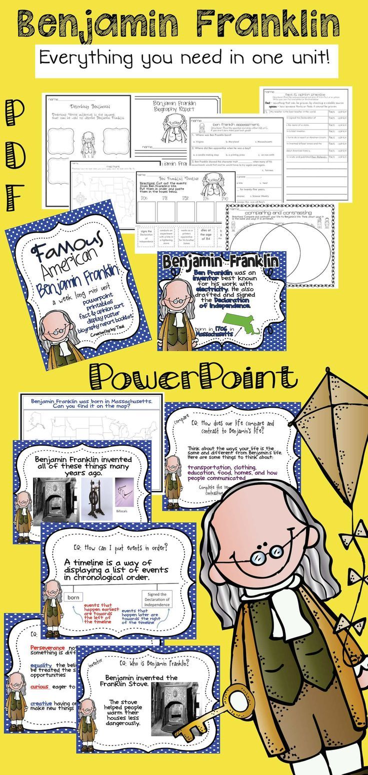 Everything you need to save time and teach Benjamin Franklin! Printables PLUS PowerPoint slides to go along with student sheets. $ #benjaminfranklin #presidentsday - Other Famous American Units are available
