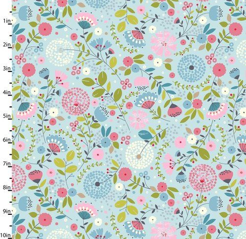 Large floral blue garden party fabric by studio ehttp for Garden party fabric by blackbird designs