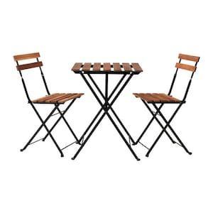 Set Tavolo E Sedie Da Giardino Ikea.Tarno Tavolo 2 Sedie Da Giardino Acacia Nero Acciaio Mordente