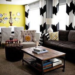 Chevron Curtains in an Eclectic Living Room - eclectic - living room - los angeles - Madison Modern Home