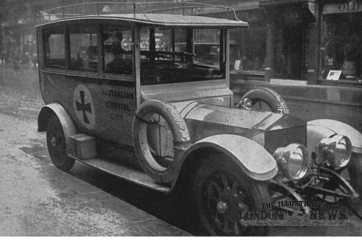 An ambulance motor car donated by Australians to the voluntary field hospital organised by Lady Dudley