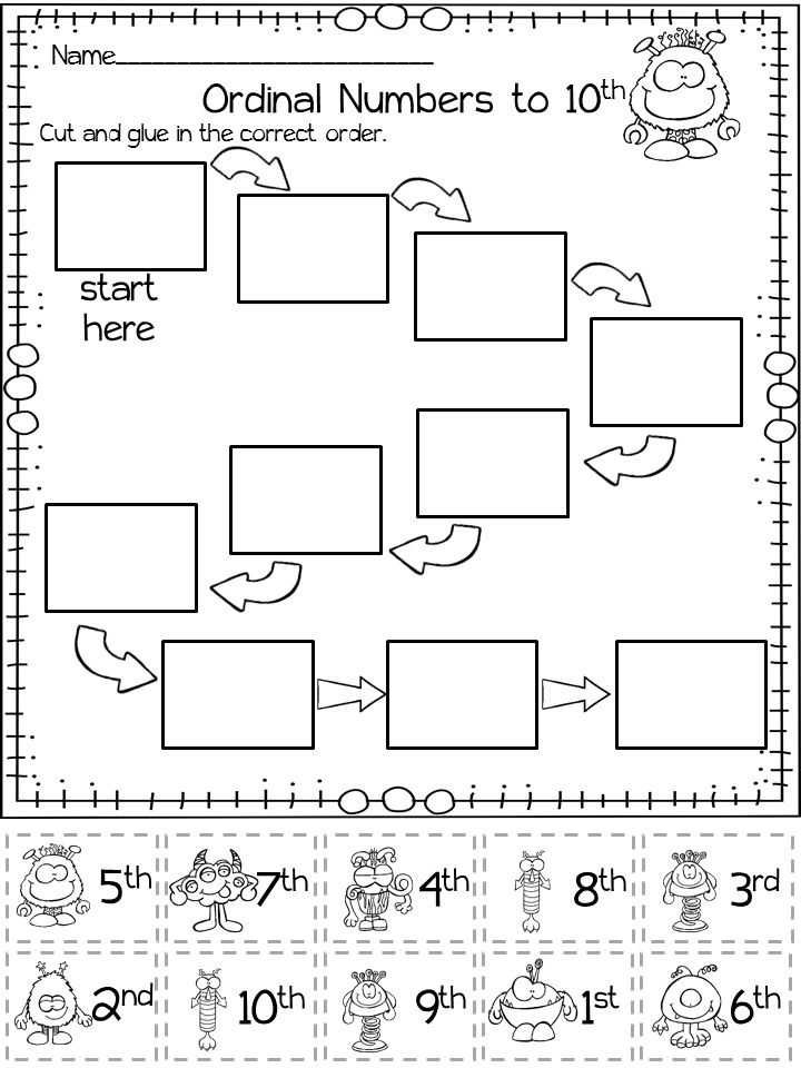 Ordinal Numbers activities $  1st - 10th, 1st - 15th and 1st - 20th