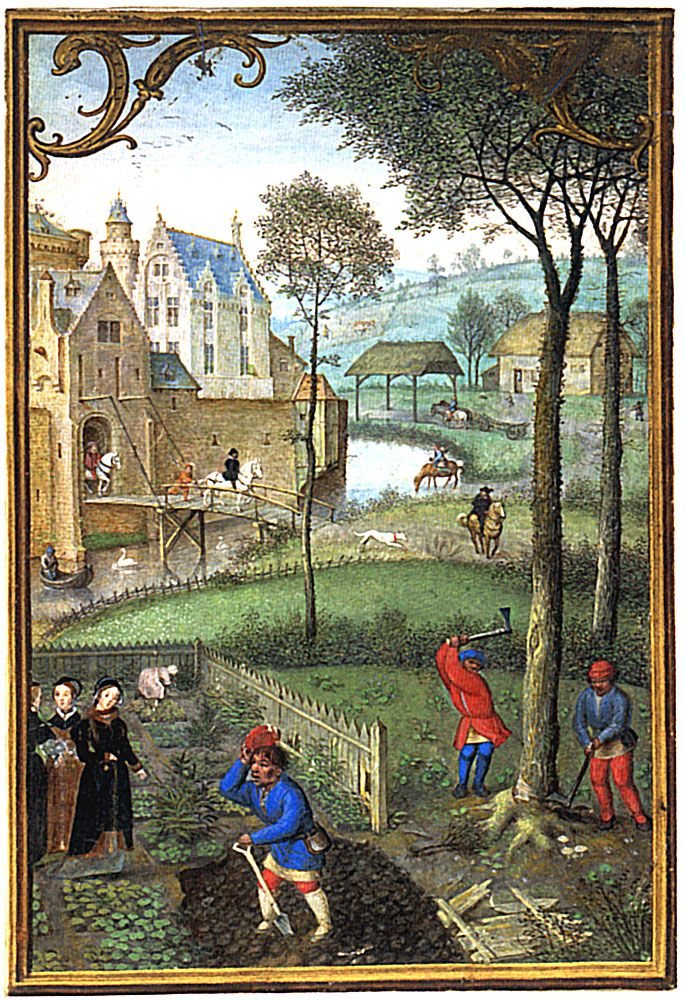 March. Leaves Apparantly from a Calendar, recto. Illuminated by Simon Bening. Bruges, probably late 1540s or early 1550s. Collection: London, the British Library