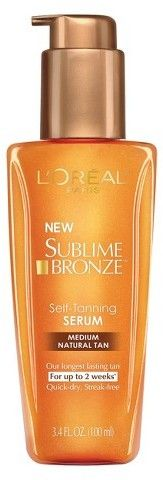 L'Oreal Paris L'Oreal® Paris Sublime Bronze Self-Tanning Serum - Medium Natural Tan - 3.4 fl oz https://api.shopstyle.com/action/apiVisitRetailer?id=469237800&pid=uid8721-33958689-52