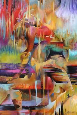 Pintura moderna de diversos colores, representacion de mujer en el espacio