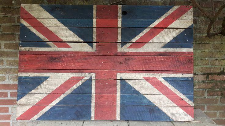 Engelse vlag gemaakt op pallet hout