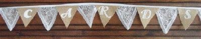 BURLAP & White LACE Wedding Sign Table Decoration by BuntingStore, $9.99