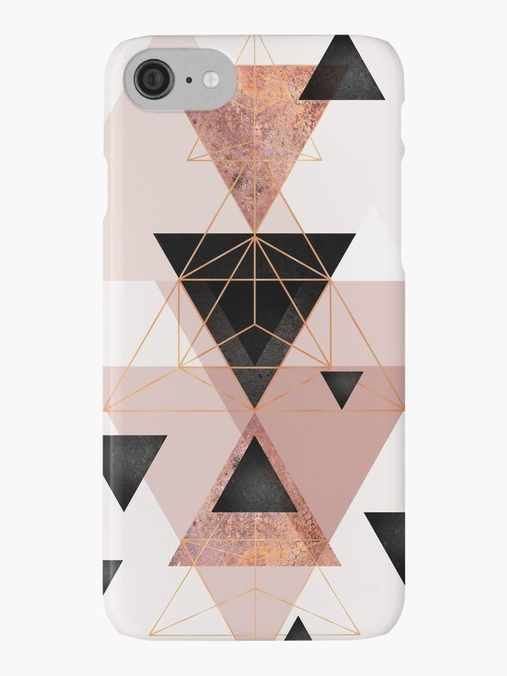 Geometric Triangles in blush and rose gold | iPhone Case & Cover