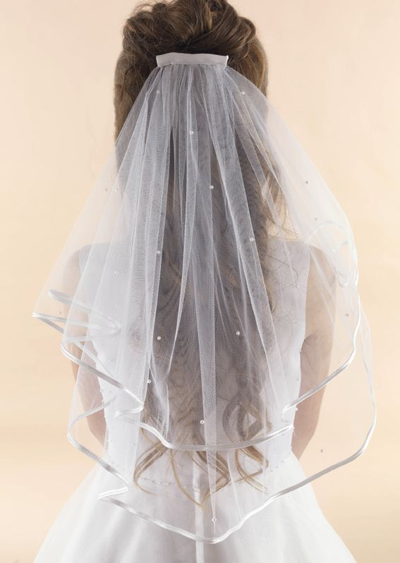 Satin Edge Scattered Pearl Communion Veil - LA148