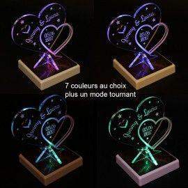 Trophée coeur personnalisé sur socle LED - cadeau mariage St Valentin