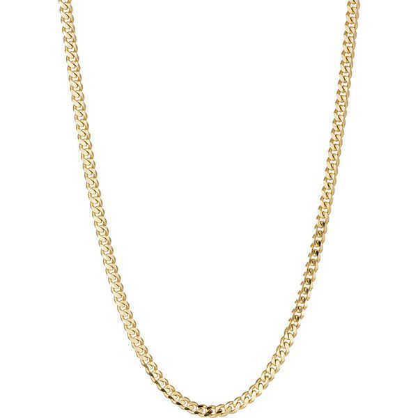 Bianca Pratt Women's Gold Curb-Chain Necklace ($1,500) ❤ liked on Polyvore featuring jewelry, necklaces, gold, yellow gold necklace, flat gold necklace, polish jewelry, gold jewelry and gold necklace