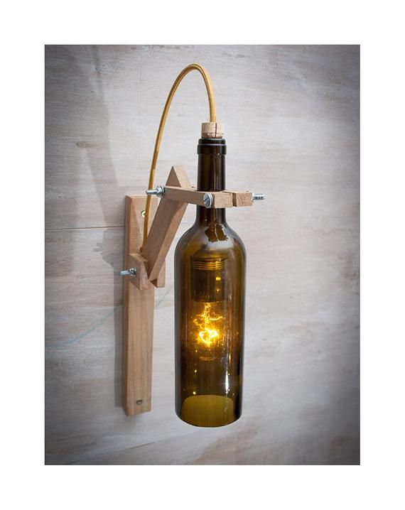 Brown glass Bottle wood wall sconce, wood lamp, wine gift, wall light, Wine bottle lamp, Wine bottle decor, wine bottle light Recycled Glass