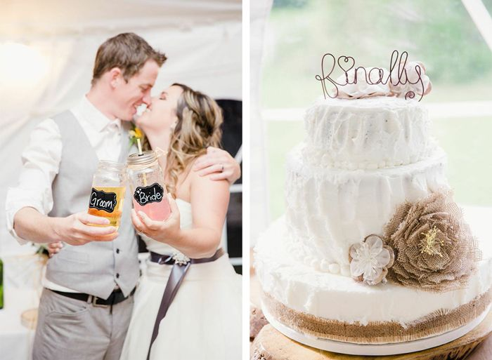 Sweet Newlyweds posing next to their Flawless Rustic Wedding Cake!