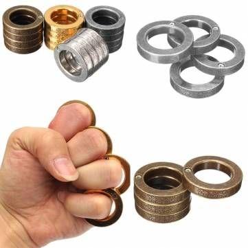 ANTIQUE SILVER - EDC Ring Survival Outdoor Pocket Tool Metal Self-defense Finger Buckle