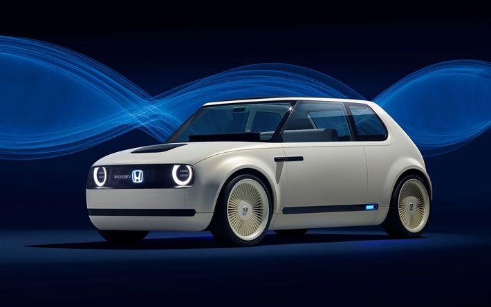 Download wallpapers Honda Urban EV Concep, 2017, cars of the future, future electric cars, hatchback, Japanese cars, Honda