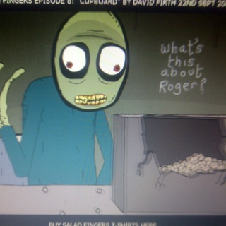 "OMG Salad Fingers. Haven't seen this in forever; so creepy. ""I like to touch rusty spoons..."""