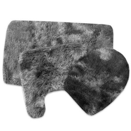 3 Piece Ravenna Bathroom Rug Set- Assorted Colors, Gray