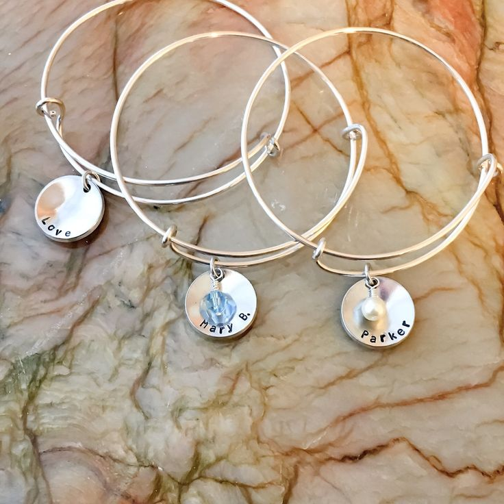 These are Mother's Day gifts, for some very special women.  Not only are they customized, they also have their favorite crystal, they're made to last as they're Sterling silver filled not plated, and best of all they are adjustable and expandable to fit!