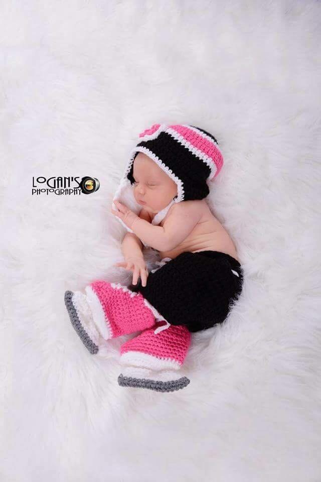 Baby Girl Crochet Hockey Set, Black Pink White Flower Hat, Breezer Hockey Pants and Double Sole Hockey Skates, Newborn, Baby, Photo Prop by KaileighKrafts on Etsy https://www.etsy.com/listing/247501651/baby-girl-crochet-hockey-set-black-pink